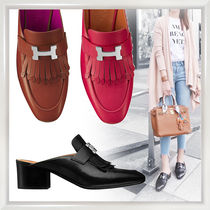 HERMES Plain Leather Fringes Sandals