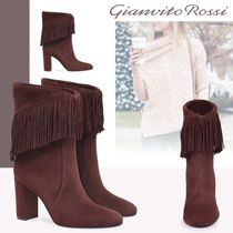 Gianvito Rossi Suede Plain Fringes Chunky Heels High Heel Boots