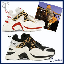 Naked Wolfe Leopard Patterns Platform Round Toe Lace-up Casual Style