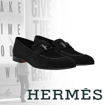 HERMES Loafers Suede Blended Fabrics Street Style Plain U Tips
