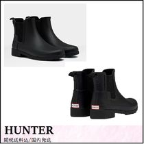 HUNTER Round Toe Rubber Sole Street Style Plain Handmade
