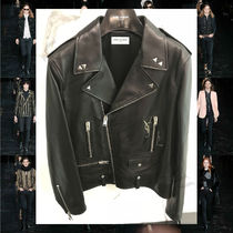 Saint Laurent Short Studded Street Style Plain Leather Biker Jackets