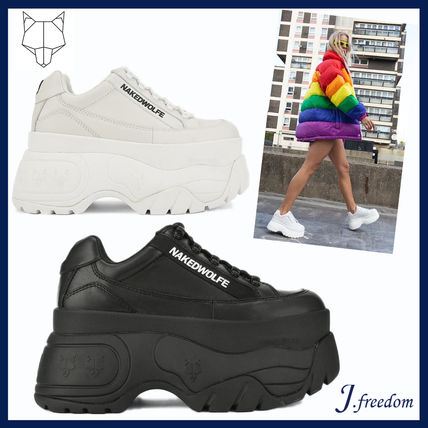 Platform Round Toe Lace-up Casual Style Street Style Leather