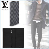Louis Vuitton BRAZZA Other Check Patterns Canvas Blended Fabrics Street Style