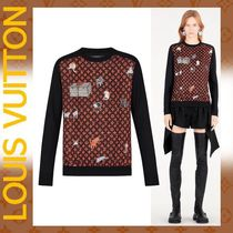 Louis Vuitton Crew Neck Monogram Casual Style Wool Collaboration