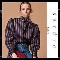 sandro Stripes Casual Style Puffed Sleeves Medium Shirts & Blouses