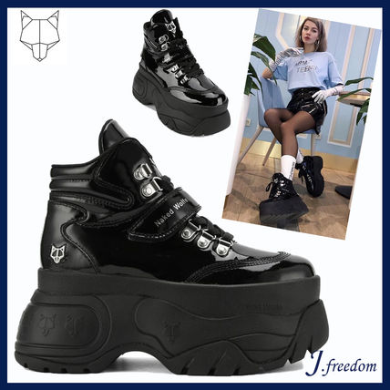 aed91e02353 ... Naked Wolfe Platform   Wedge Platform Round Toe Lace-up Casual Style  Street Style Leather ...