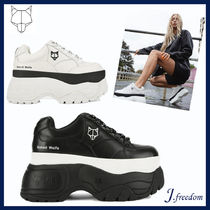 Naked Wolfe Platform Round Toe Lace-up Casual Style Street Style Leather