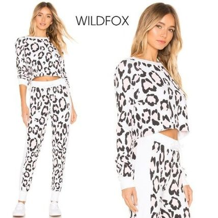 Crew Neck Leopard Patterns Street Style Long Sleeves Cotton