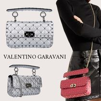 VALENTINO Lambskin Studded 2WAY Chain Elegant Style Shoulder Bags