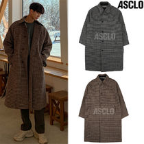 ASCLO Gingham Wool Street Style Collaboration Long Coats