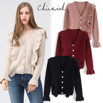 Chicwish V-Neck Long Sleeves Plain Medium With Jewels Elegant Style