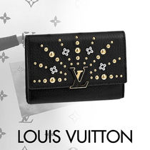 Louis Vuitton CAPUCINES Blended Fabrics Studded Leather With Jewels Folding Wallets