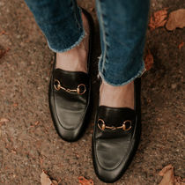 GUCCI Round Toe Plain Leather Elegant Style Loafer Pumps & Mules