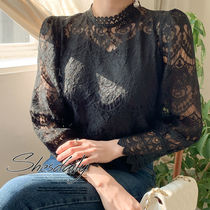 Casual Style Puffed Sleeves Plain Lace Shirts & Blouses