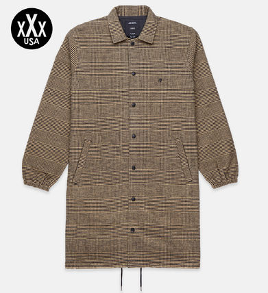 Other Check Patterns Street Style Trench Coats
