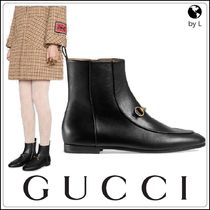 GUCCI Jordaan Plain Toe Plain Leather Elegant Style Ankle & Booties Boots