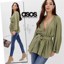 ASOS Peplum V-Neck Long Sleeves Plain Medium Khaki Tunics