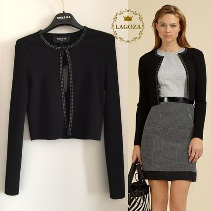 Long Sleeves Plain Office Style Cardigans