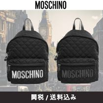 Moschino Other Check Patterns Studded Plain Backpacks