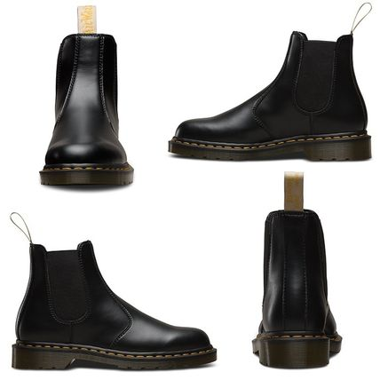 Dr Martens Ankle & Booties Round Toe Unisex Plain Leather Block Heels Chelsea Boots 2