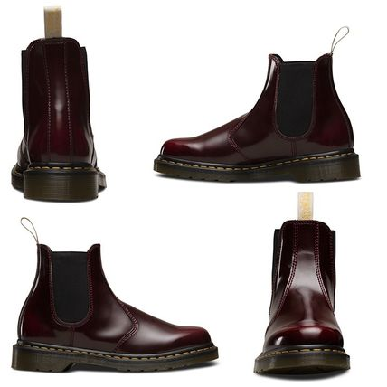 Dr Martens Ankle & Booties Round Toe Unisex Plain Leather Block Heels Chelsea Boots 4