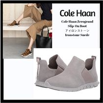 Cole Haan Plain Toe Rubber Sole Casual Style Suede Flat Boots
