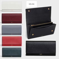 CELINE Unisex Calfskin Blended Fabrics Plain Long Wallets