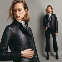 Massimo Dutti Plain Leather Biker Jackets