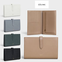 CELINE Unisex Calfskin Plain Bold Folding Wallets