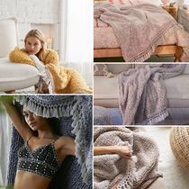 Urban Outfitters Tassel Plain Fringes Ethnic Throws