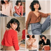 SEZANE Long Sleeves Plain Cardigans