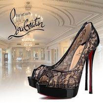 Christian Louboutin Flower Patterns Open Toe Platform Enamel Blended Fabrics