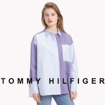 Tommy Hilfiger Stripes Casual Style Unisex Street Style Long Sleeves Plain