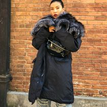 Faux Fur Blended Fabrics Street Style Bi-color Plain Long