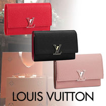 Louis Vuitton CAPUCINES Blended Fabrics Street Style Plain Leather With Jewels