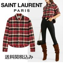 Saint Laurent Other Check Patterns Long Sleeves Cotton Elegant Style