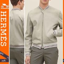 HERMES Short Plain Leather Jackets
