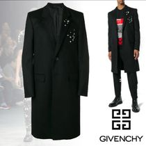 GIVENCHY Wool Blended Fabrics Studded Plain Long Chester Coats