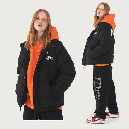 Short Unisex Street Style Plain Oversized Down Jackets