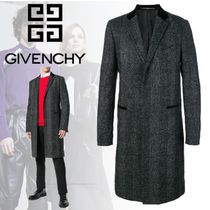 GIVENCHY Glen Patterns Wool Long Chester Coats