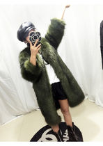 Faux Fur Plain Long Fur Vests Oversized Cashmere & Fur Coats