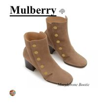 Mulberry Square Toe Suede Plain Block Heels Ankle & Booties Boots