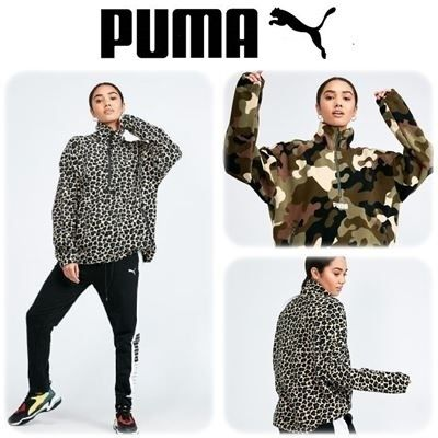 Camouflage Leopard Patterns Long Sleeves High-Neck Oversized
