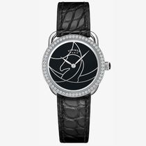 HERMES Blended Fabrics Leather Round Quartz Watches With Jewels
