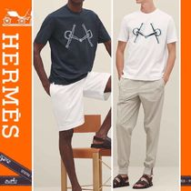 HERMES Crew Neck Street Style Cotton Short Sleeves