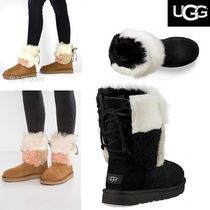 UGG Australia CLASSIC SHORT Round Toe Lace-up Casual Style Sheepskin Plain Lace-up Boots