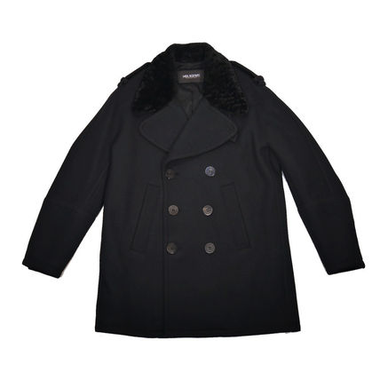 NeIL Barrett Wool Street Style Plain Long Peacoats Coats