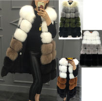 Faux Fur Bi-color Plain Long Fur Vests Oversized