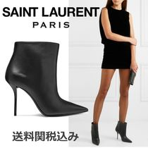 Saint Laurent Plain Leather Pin Heels Elegant Style Ankle & Booties Boots
